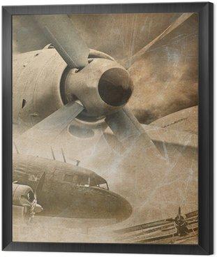 Obraz w Ramie Retro lotnictwo, zabytkowe tło
