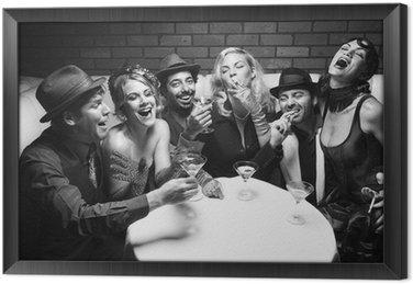 Obraz w Ramie Retro, mężczyźni i kobiety ze śmiechem.