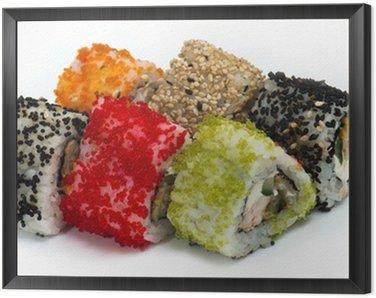 Obraz w Ramie Różne rodzaje sushi i sashimi