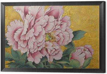 Obraz w Ramie Różowa piwonia kwiat na złotym tle