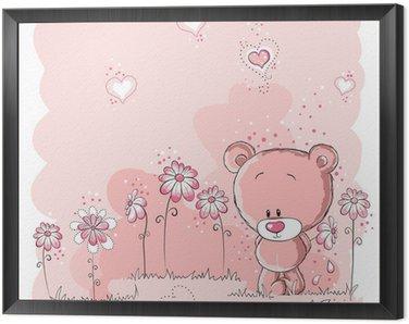 Obraz w Ramie Różowy ładny miś trzyma kwiat