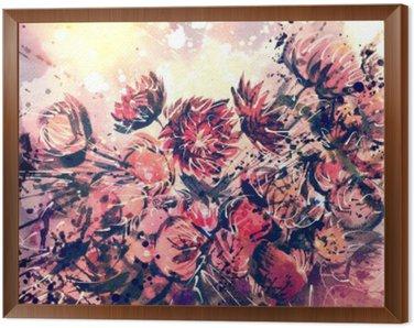 Obraz w Ramie Rysunek, akwarela bukiet kwiatów słomy
