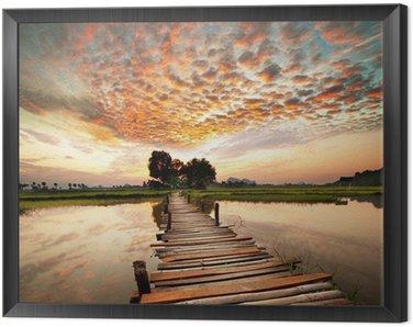 Obraz w Ramie Rzeka na zachód słońca