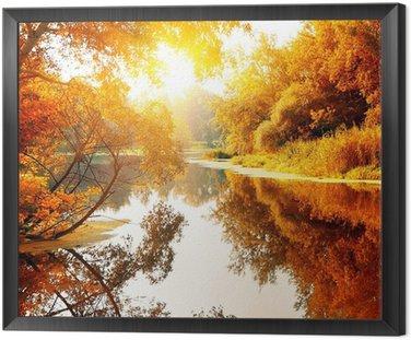 Obraz w Ramie Rzeka w lesie jesienią wspaniałe