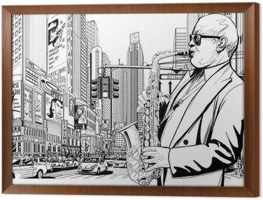 Obraz w Ramie Saksofonista na ulicy w Nowym Jorku