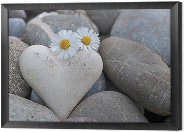 Obraz w Ramie Serce na kamienie ze stokrotek