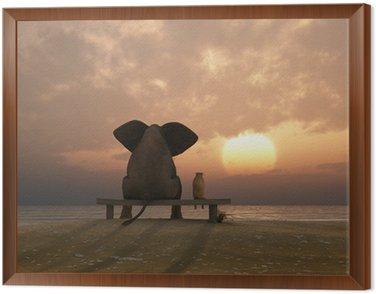 Obraz w Ramie Słoń i pies siedzieć na plaży latem