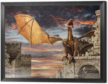 Obraz w Ramie Smok na zamku