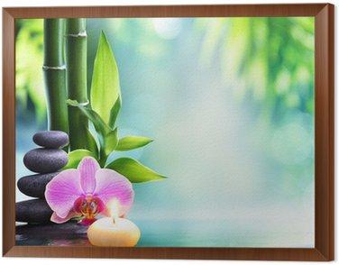 Obraz w Ramie Spa martwa natura - Świeca i kamienia z bambusa w przyrodzie na water__