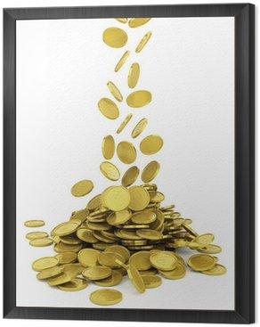 Obraz w Ramie Spada złote monety - na białym tle