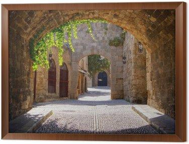 Obraz w Ramie Średniowieczne łukowe ulica na starym mieście w Rodos, Grecja