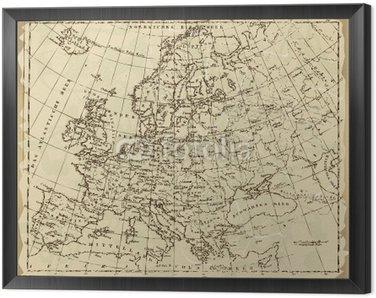 Obraz w Ramie Stara Europa Map