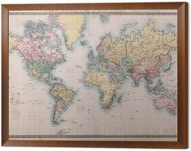 Obraz w Ramie Stara mapa świata na antyczne projekcji mercators