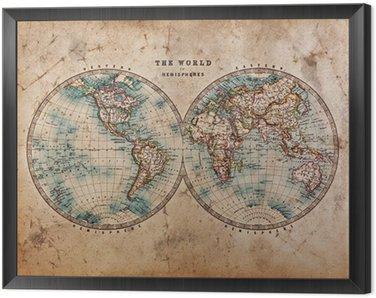 Obraz w Ramie Stara mapa świata na półkuli