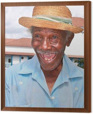 Obraz w Ramie Stary człowiek sympatyczny kubańska słomkowym kapeluszu zrobić śmieszną twarz, Kuba