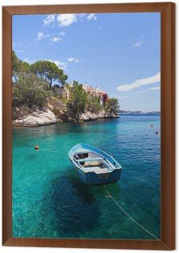 Obraz w Ramie Stary rowboat zacumowany w Cala Fornells, Majorka
