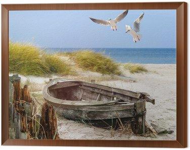 Obraz w Ramie Starych łodzi rybackich, mewy, plaża i morze