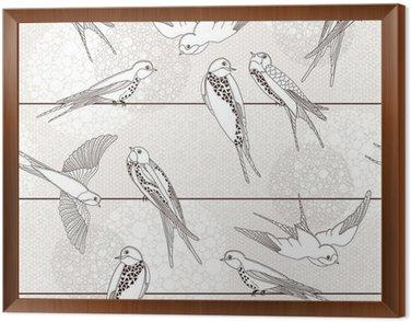 Obraz w Ramie Streszczenie powtarzalne. Ptak na drutach.
