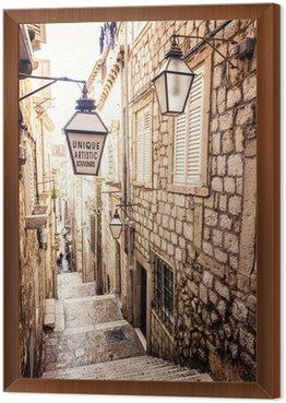 Obraz w Ramie Strome schody i wąska uliczka na Starym Mieście w Dubrowniku