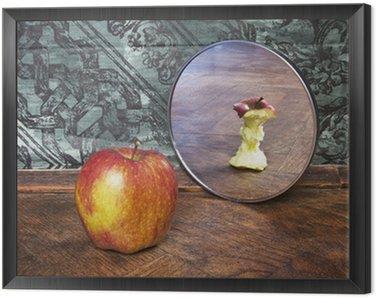 Obraz w Ramie Surrealistyczny obraz jabłko odzwierciedlając w lustrze