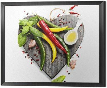 Obraz w Ramie Świeże warzywa na pokładzie cięcia w kształcie serca