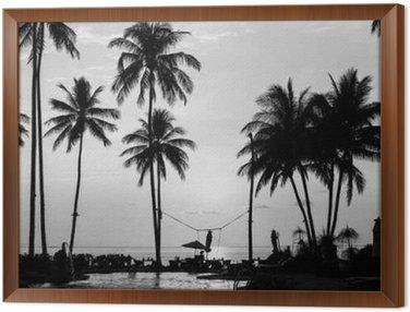 Sylwetki palm na tropikalnej plaży, czarno-białej fotografii.