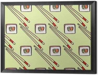 Obraz w Ramie Szwu z kreskówki japońskiej żywności ikony rysowane ręcznie - sushi z awokado, omlet, ryb. Doodle rysunek. Vector ilustracji - próbkę środka