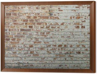 Obraz w Ramie Tło starego rocznika brudne ściany z cegły z peelingiem gipsu