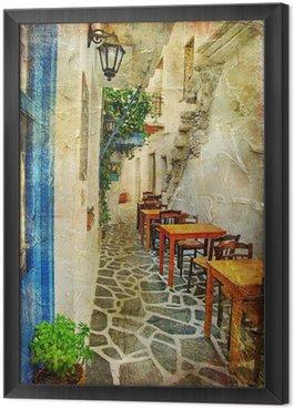 Obraz w Ramie Tradycyjnych greckich tawern. artystyczny obraz