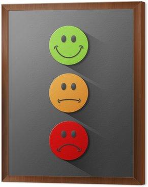 Obraz w Ramie Traffic Lights - Badanie Buttons (czerwony, zielony, pomarańczowy satysfakcja)