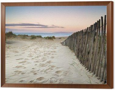Obraz w Ramie Trawiaste wydmy krajobraz o wschodzie słońca