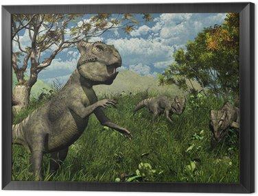 Obraz w Ramie Trzy Archaeoceratops Dinosaurs Exploring - 3d render