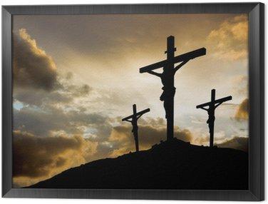 Obraz w Ramie Trzy krzyże na zachodzie słońca