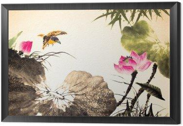 Obraz w Ramie Tusz lotosu malowanie ręcznie rysowane