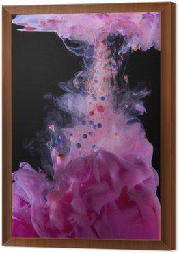 Obraz w Ramie Tusz magenta podwodny, samodzielnie na czarnym tle.