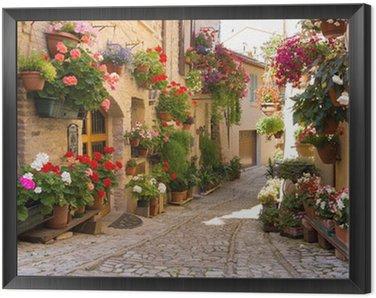 Obraz w Ramie Uliczka z kwiatami, Spello