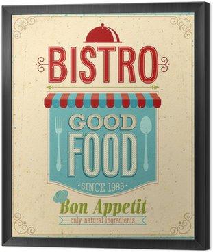 Obraz w Ramie Vintage Bistro Poster. Ilustracji wektorowych.