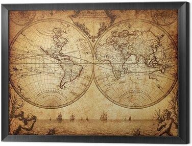 Obraz w Ramie Vintage, mapa świata 1733