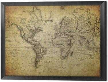 Obraz w Ramie Vintage, mapa świata 1814 ..