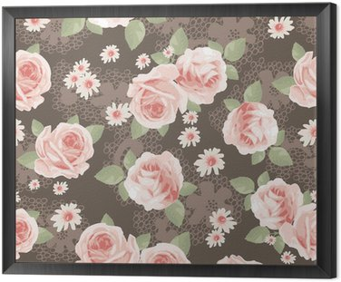 Vintage, róże na koronki bez szwu tła