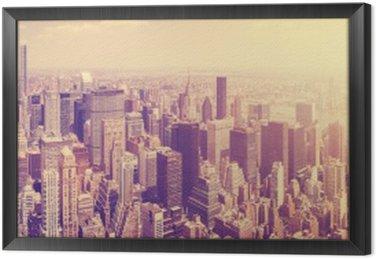 Obraz w Ramie Vintage stonowanych Manhattan Skyline o zachodzie słońca, NYC, USA.