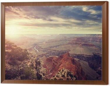 Obraz w Ramie Vintage stonowanych słońca nad Grand Canyon, jeden z najważniejszych atrakcji turystycznych w Stanach Zjednoczonych.