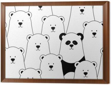 Obraz w Ramie Wektor bez szwu z białych niedźwiedzi polarnych i panda