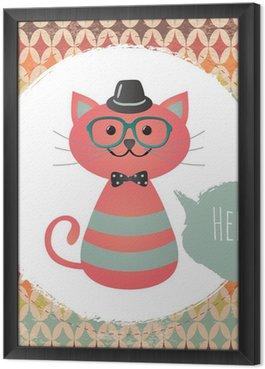 Obraz w Ramie Wektor Hipster Cat ilustracja karty z pozdrowieniami projekt