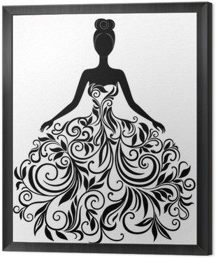 Obraz w Ramie Wektor sylwetka młodej kobiety w sukni