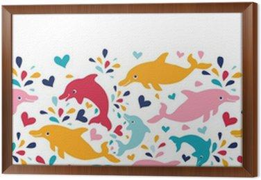 Obraz w Ramie Wektor zabawa kolorowe delfiny poziomej bez szwu deseń