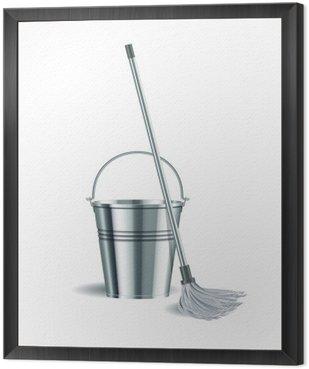 Obraz w Ramie Wiadro i mop na białym tle.