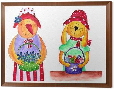 Obraz w Ramie Wielkanoc kurę i królika. W stylu country
