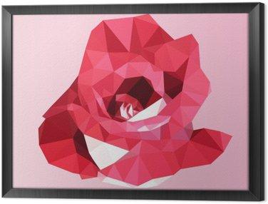 Obraz w Ramie Wielokątne czerwona róża. poli niska trójkąt geometrycznej kwiat wektora