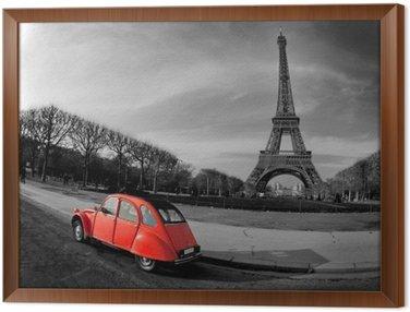 Obraz w Ramie Wieża Eiffla i czerwony-paris samochód